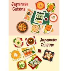 Japanese cuisine seafood sushi icon set vector image vector image
