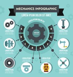 Mechanics infographic concept flat style vector