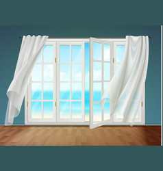 Open window with fluttering curtains vector