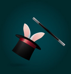 Rabbit in magic hat and wand circus performance vector