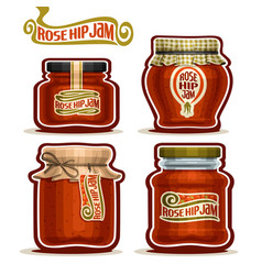 Rose hip jam in jars vector