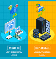 Server hardware vertical banners vector