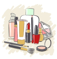 Set of cosmetics products for makeup vector