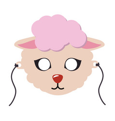 Sheep animal carnival mask cute wooly lamb vector