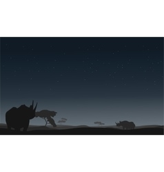 Silhouette of rhino lonely vector