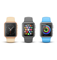 Smart electronic apple watches set vector