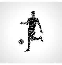 Soccer or football player kicks the ball vector image vector image