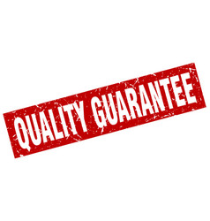Square grunge red quality guarantee stamp vector