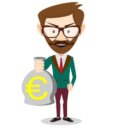 Successful businessman or banker with a bag of vector