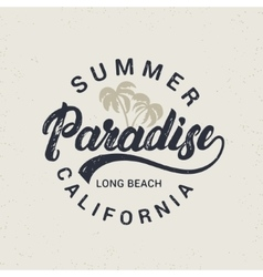 Summer paradise hand written lettering with palms vector image