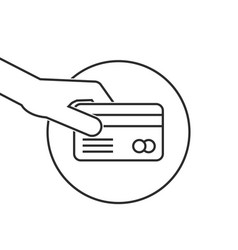 thin line hand holding credit card vector image vector image