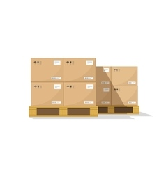 Warehouse parts boxes on wooden pallet vector
