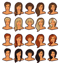 Women portraits icons set vector image vector image