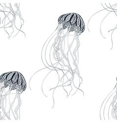 Zentangle stylized jellyfish seamless pattern hand vector