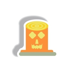 Paper sticker halloween icon vector