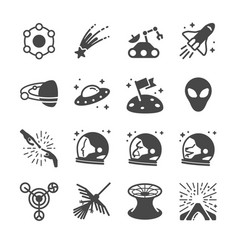 Astronomy and space icons vector