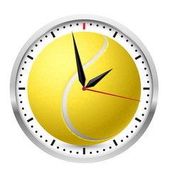 Wall clock tennis style on white background vector