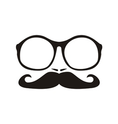 Men face with mustache and huge nerd glasses vector