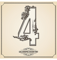 Calligraphic font Number 4 vector image