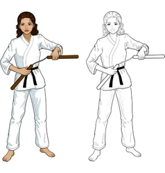 Indonesian nunchuck girl in karategi vector