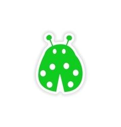 Icon sticker realistic design on paper ladybug vector