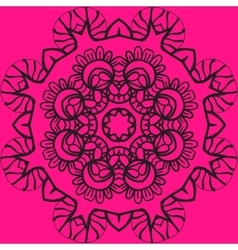Mandala in outlines over pink color background vector