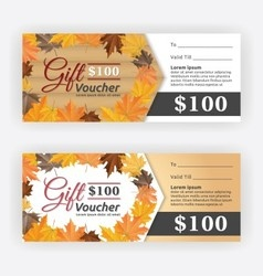 Autumn gift voucher certificate vector