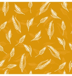 Seamless pattern with ears of wheat hand drawn vector