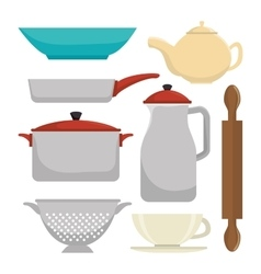 Kitchen dishware utensils vector