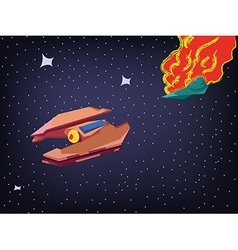 Spaceship explosion in cosmos vector