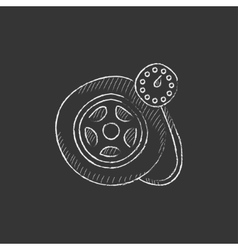 Pressure gauge tyre  drawn in chalk icon vector