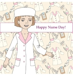 Background with nurse and medical supplies vector