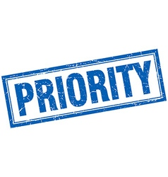 Priority blue square grunge stamp on white vector