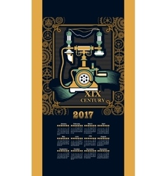 Calendar 2017 steam punk vector