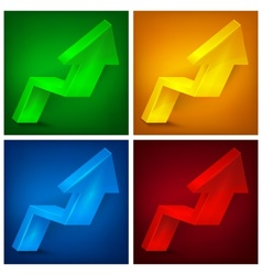 Arrow up signs on color vector image