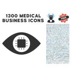 Bionic eye circuit icon with 1300 medical business vector