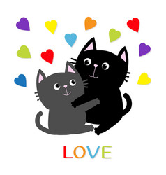 Black gray cat hugging couple family rainbow vector