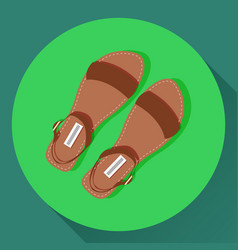 brown women summer sandals icon vector image vector image