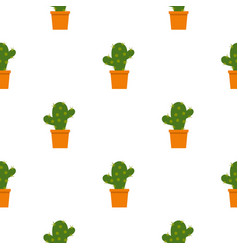 Cactus flower in pot pattern seamless vector