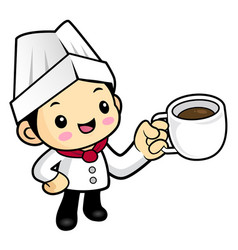 cartoon chef character a cup of tea isolated on vector image