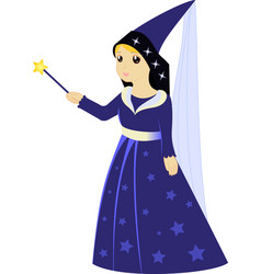 Cartoon fairy sorceress with magic wand vector