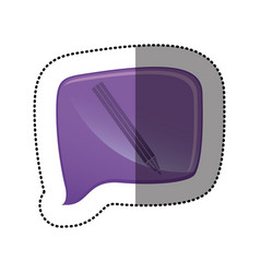 color sticker with pencil icon in square speech vector image vector image