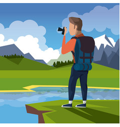 Colorful landscape of hiking man taking a picture vector