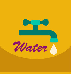 dripping tap with drop line icon for web mobile vector image