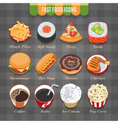 Fast food isometric icons set vector