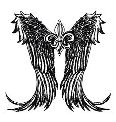 Fleur de lis wing emblem vector