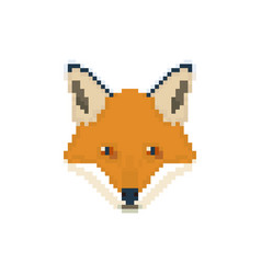 Fox head in pixel art style wild animal vector