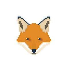 fox head in pixel art style wild animal vector image vector image
