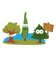Funny trees holding a recycling sign vector