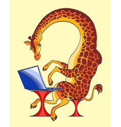 Giraffe and laptop vector image vector image